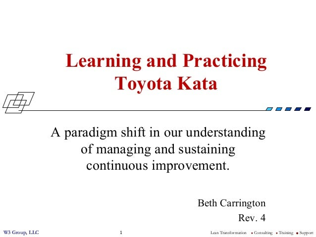 W3 Group, LLC Lean Transformation l Consulting l Training l Support1 Learning and Practicing Toyota Kata A paradigm shi...