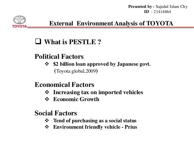toyota motors pest analysis Swot analysis of toyota tells about the internal and external strategic analysis of toyota motors.