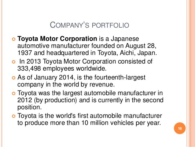 Presentation On Toyota Motors L T D