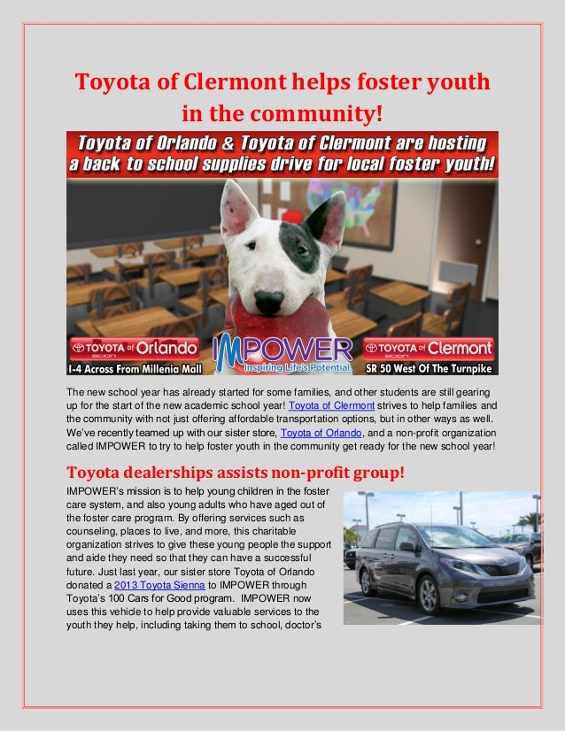 Toyota of Clermont helps foster youth in the community! The new school year has already started for some families, and oth...
