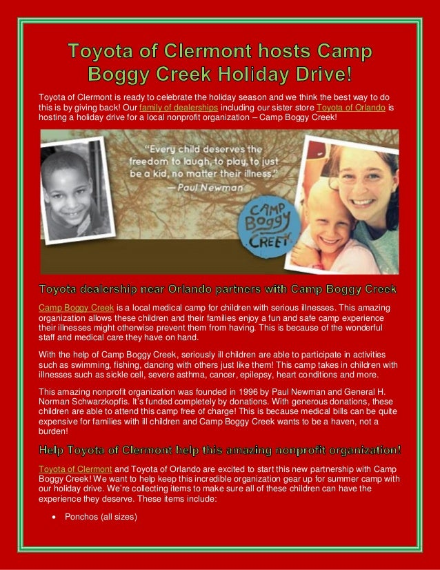 Toyota of Clermont hosts Camp Boggy Creek Holiday Drive!