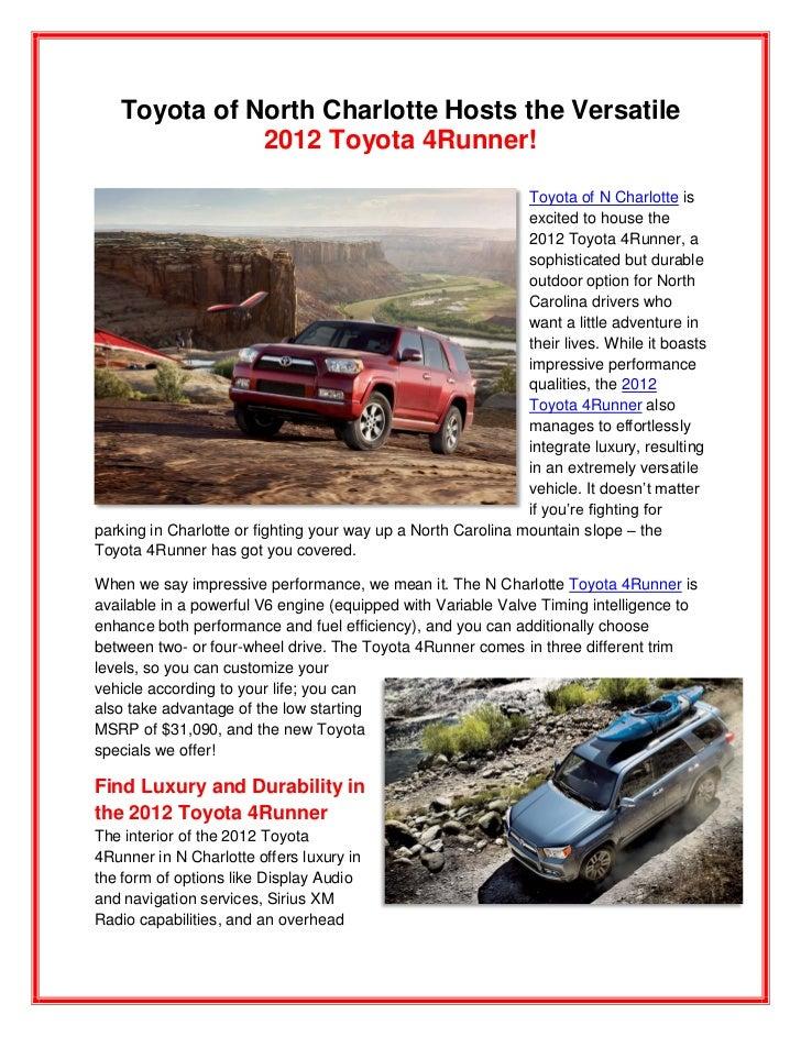Toyota of N Charlotte hosts the 2012 Toyota 4 Runner