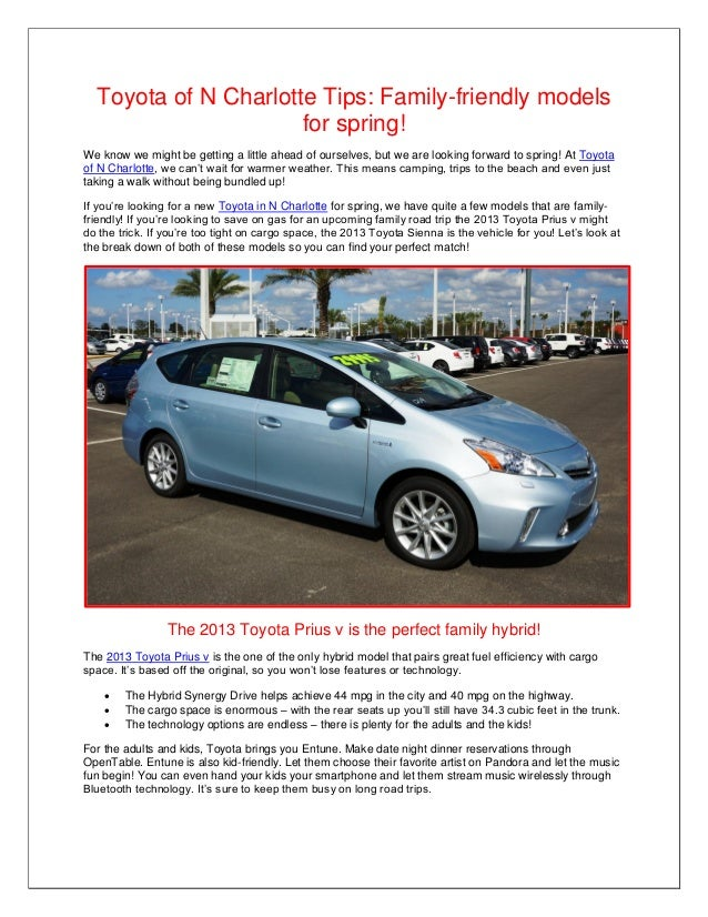 Toyota of N Charlotte Tips: Family-friendly models                      for spring!We know we might be getting a little ah...