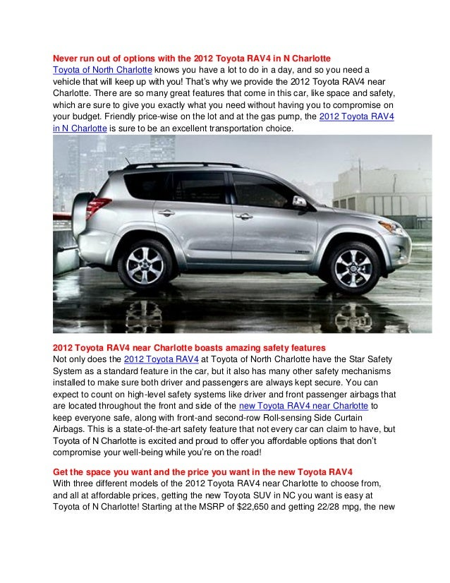 Toyota of North Charlotte provides affordable and compact SUV