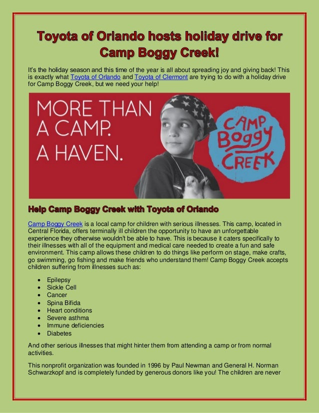 Toyota of Orlando hosts holiday drive for Camp Boggy Creek!