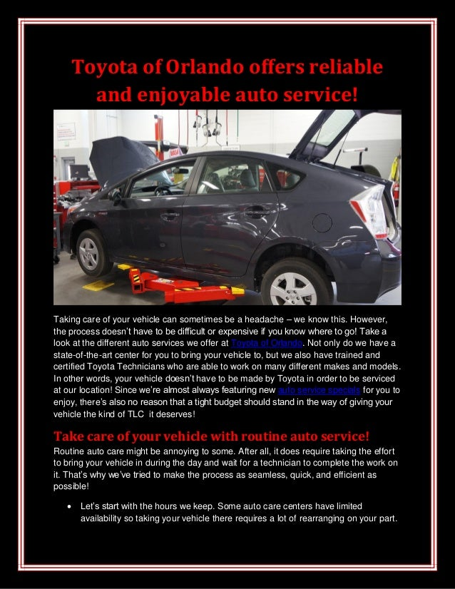 Toyota of Orlando offers reliableand enjoyable auto service!Taking care of your vehicle can sometimes be a headache – we k...