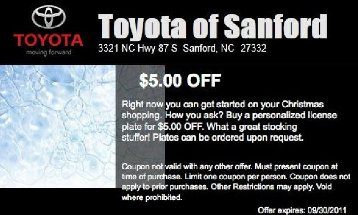 Toyota Personalized License Plate Special NC | Toyota Dealer near Raleigh