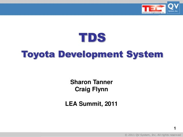 Basic Title © 2011 QV System, Inc. All rights reserved 1 TDS Toyota Development System Sharon Tanner Craig Flynn LEA Summi...