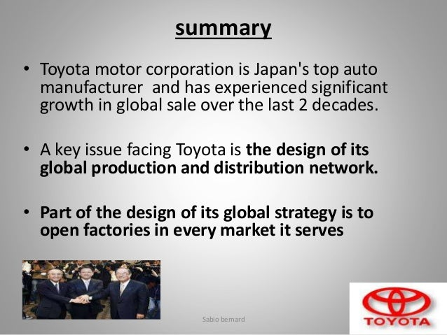 case study supply chain management toyota Supply chain management of toyotacase study by sabio bernard 1 toyota by sabio bernard sem3 mba ptcet supply change management a global auto.