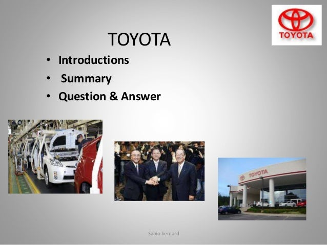 stp analysis of toyota The situation analysis page of the mplanscom automobile inspectors sample marketing plan.