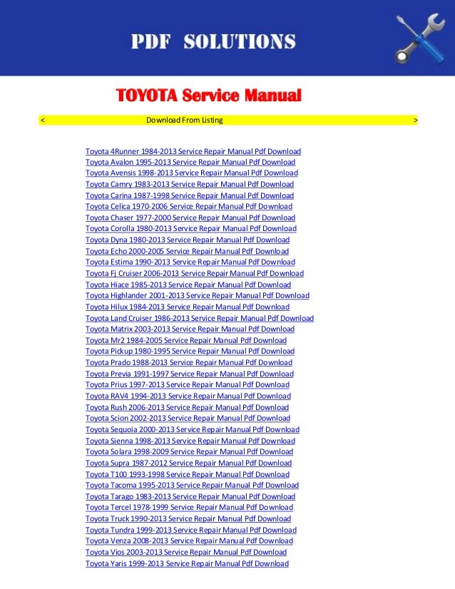toyota workshop service repair manual pdf download. Black Bedroom Furniture Sets. Home Design Ideas