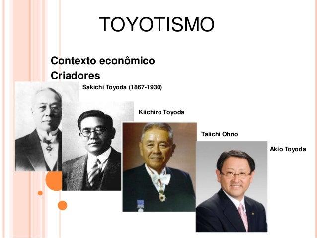 TOYOTISMO Contexto econômico Criadores Sakichi Toyoda (1867-1930) Kiichiro Toyoda Taiichi Ohno Akio Toyoda