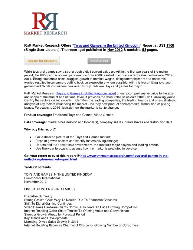 """RnR Market Research Offers """"Toys and Games in the United Kingdom"""" Report at US$ 1100(Single User License). The report got ..."""