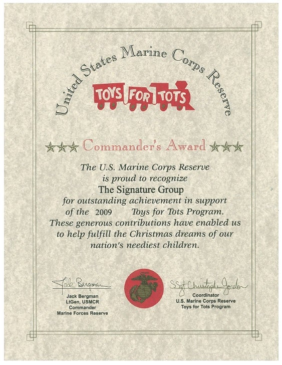 Toys For Tots Certificate