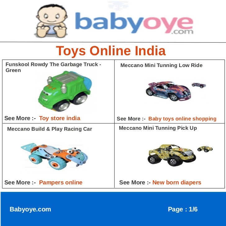 Toys Online IndiaFunskool Rowdy The Garbage Truck -    Meccano Mini Tunning Low RideGreenSee More :- Toy store india      ...