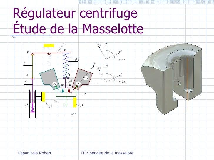 Régulateur centrifuge Étude de la Masselotte Papanicola Robert TP cinetique de la masselote