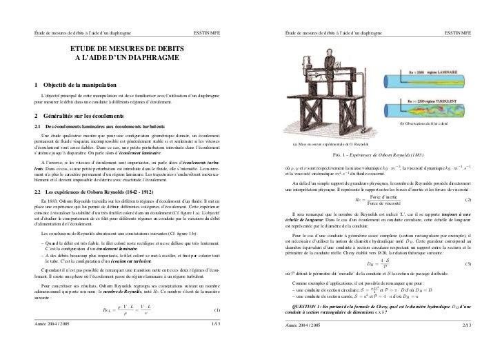 Étude de mesures de débits à l'aide d'un diaphragme                                        ESSTIN MFE        Étude de mesu...