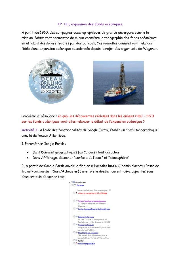 TP 13 L'expansion des fonds océaniques. A partir de 1960, des campagnes océanographiques de grande envergure comme la miss...