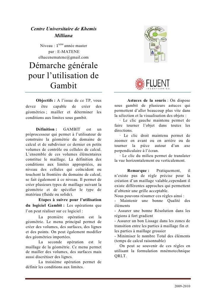 Tp2:Démarche générale pour l'utilisation de Gambit