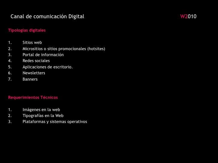 Canal de comunicación Digital                                                           W2010 <br />Tipologías digitales<b...
