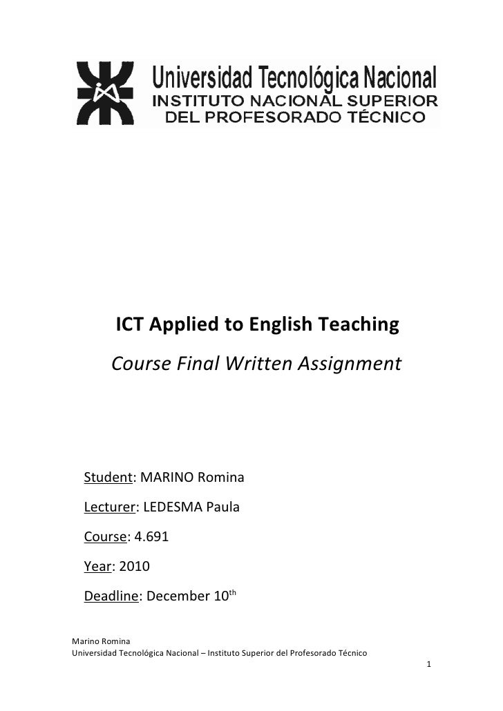 ICT Applied to English Teaching          Course Final Written Assignment   Student: MARINO Romina   Lecturer: LEDESMA Paul...