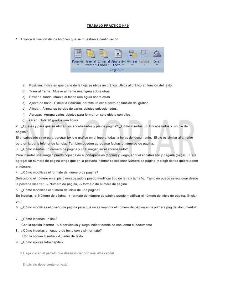 TRABAJO PRÁCTICO Nº 9<br />Explica la función de los botones que se muestran a continuación:<br />1863725153670<br /> <br ...
