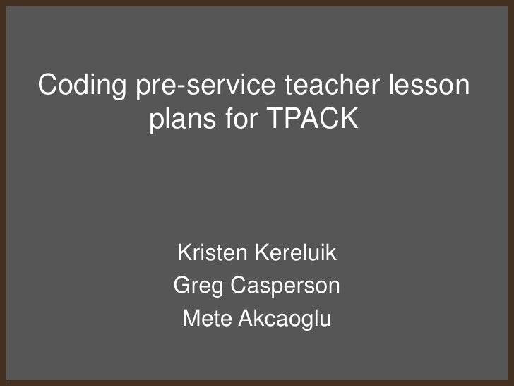 Tpack Lesson Plan Coding