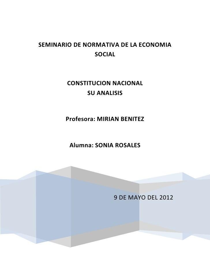 SEMINARIO DE NORMATIVA DE LA ECONOMIA                SOCIAL       CONSTITUCION NACIONAL            SU ANALISIS       Profe...