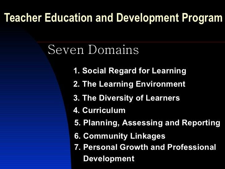 Teacher Education and Development Program   Seven Domains 1. Social Regard for Learning 2. The Learning Environment 3. The...