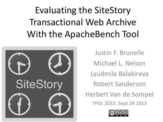 Evaluating the SiteStory Transactional Web Archive With the ApacheBench Tool Justin F. Brunelle Michael L. Nelson Lyudmila...