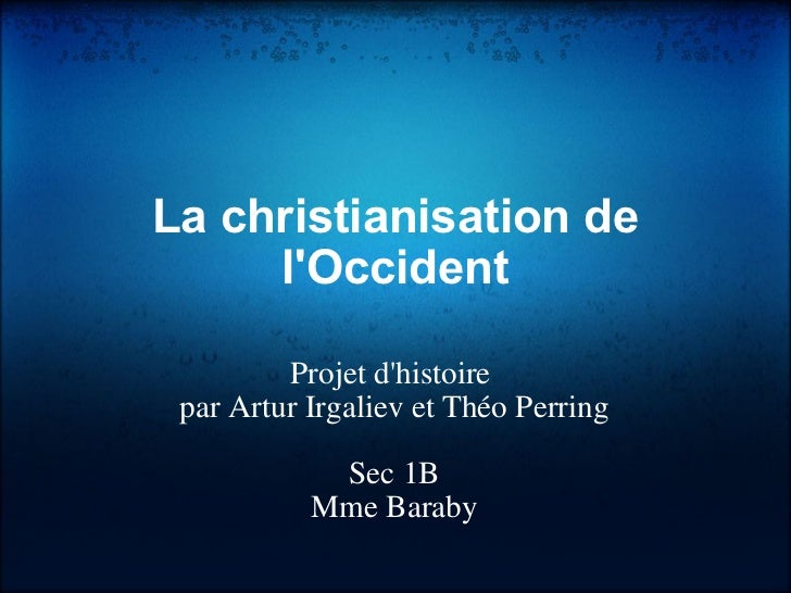 Tperr la christanisation