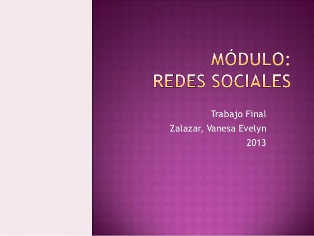 Trabajo Final Zalazar, Vanesa Evelyn 2013