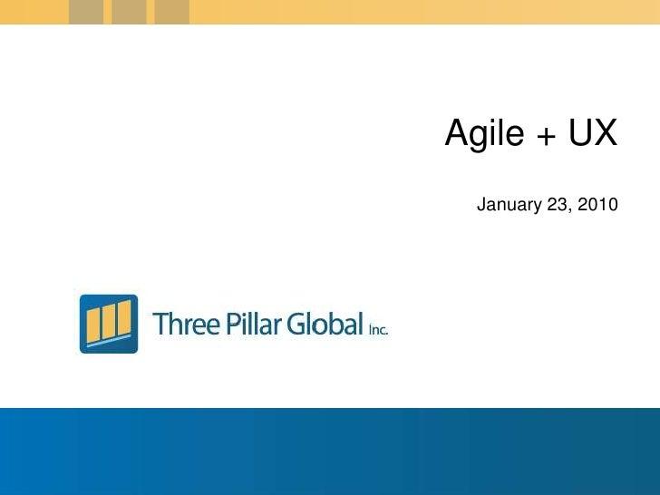 January 23, 2010<br />Agile + UX<br />