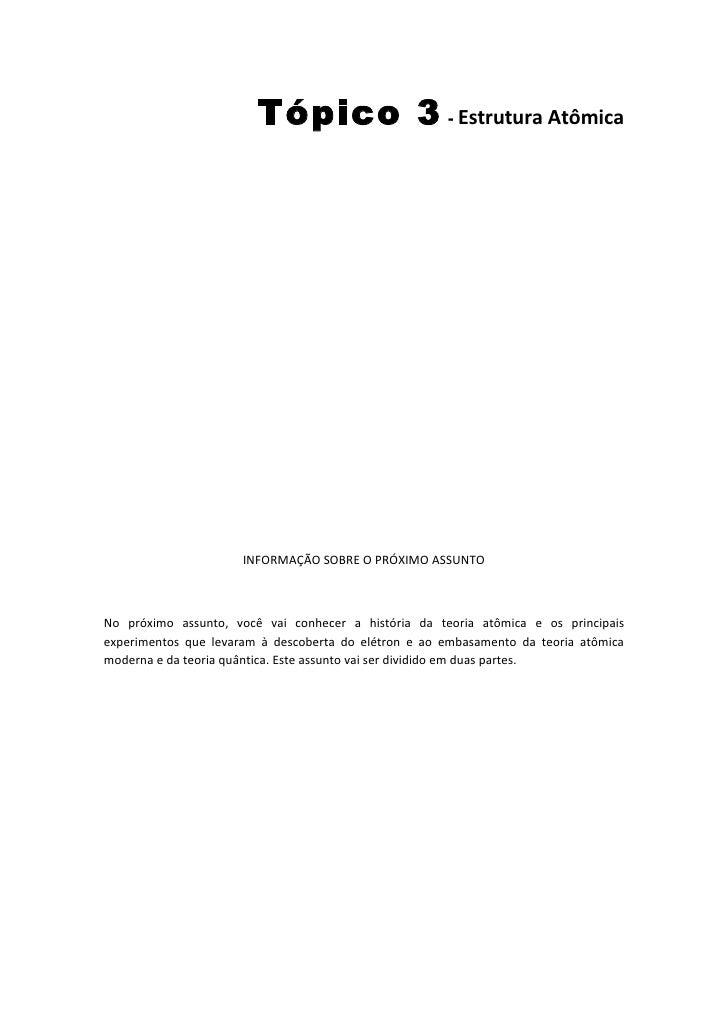 Tópico 3 - Estrutura Atômica                                                                                        ...