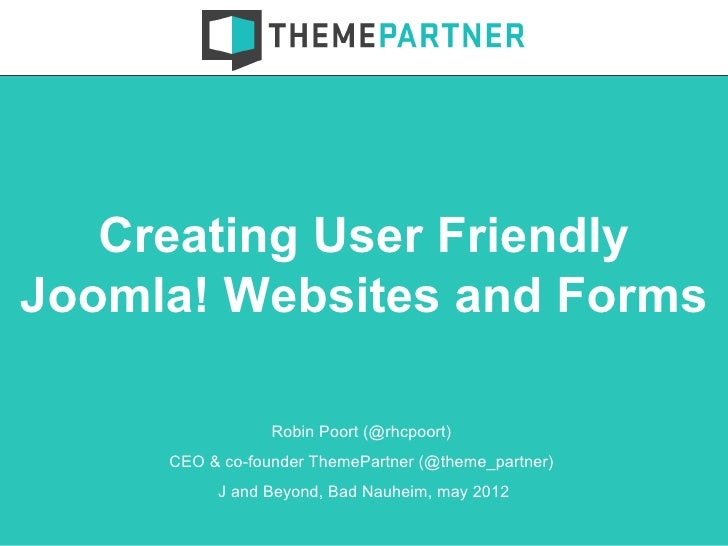 Creating User Friendly Joomla! Websites and Forms [English]