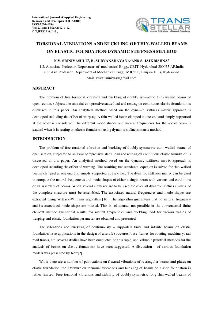 International Journal of Applied EngineeringResearch and Development (IJAERD)ISSN:2250–1584Vol.2, Issue 1 Mar 2012 1-12© T...