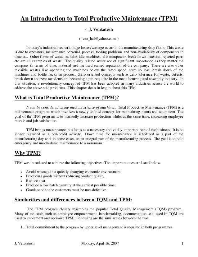 An Introduction to Total Productive Maintenance (TPM)                                             - J. Venkatesh          ...