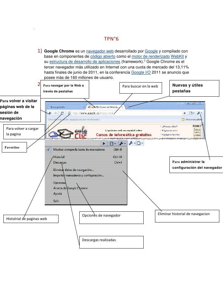.<br />TPN°6<br />Nuevas y útiles pestañasPara navegar por la Web a través de pestañasGoogle Chromees unnavegador web...