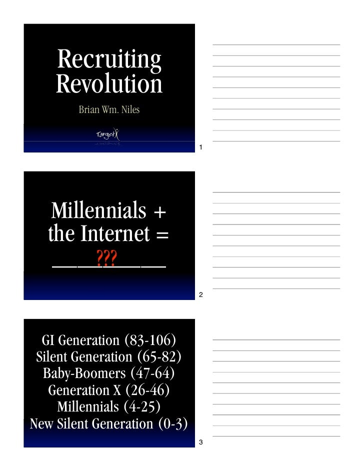 Recruiting     Revolution         Brian Wm. Niles                                 1         Millennials +    the Internet ...