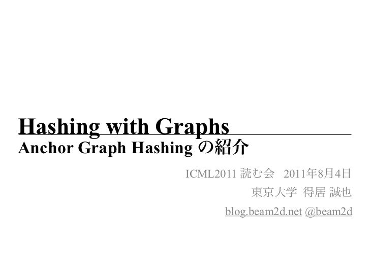 Hashing with GraphsAnchor Graph Hashing                   ICML2011        2011 8   4                         blog.beam2d.n...