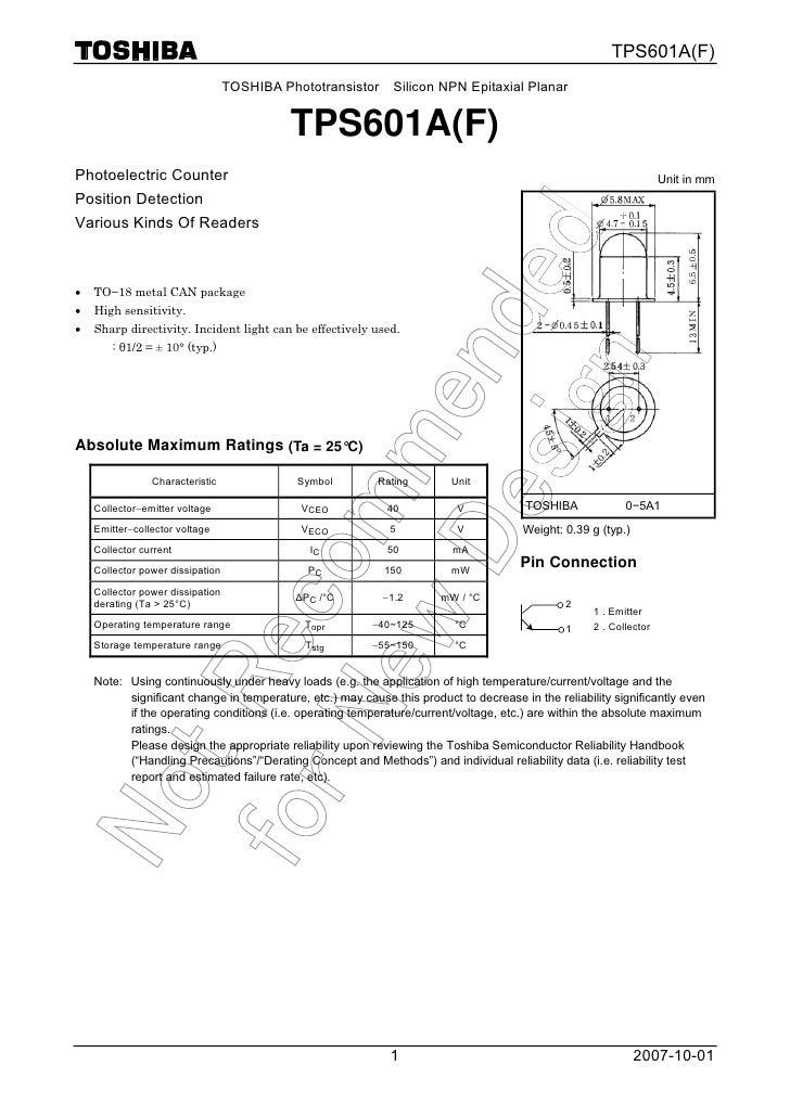 TPS601A(F)                                  TOSHIBA Phototransistor     Silicon NPN Epitaxial Planar                      ...