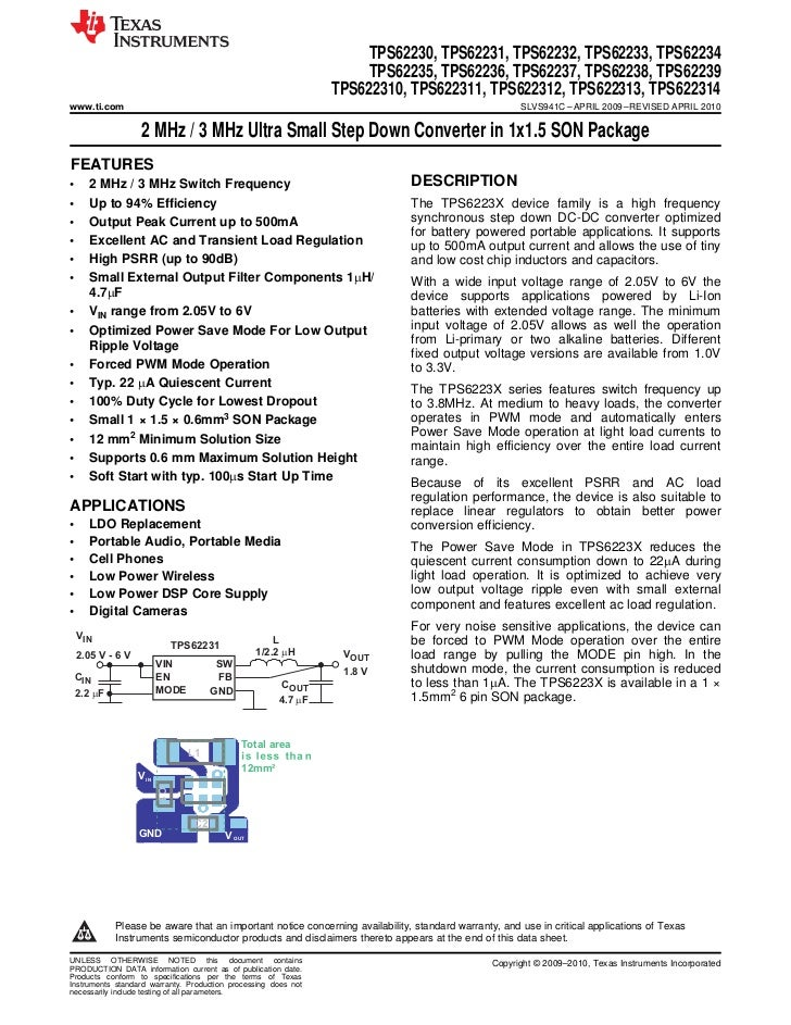 Datasheet of TPS62230