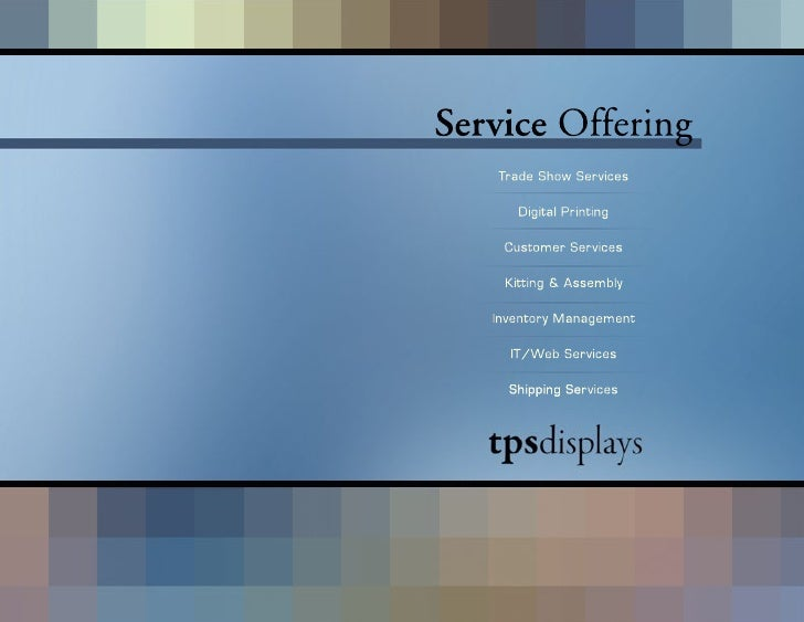 Service Offering    Trade Show Services        Digital Printing      Customer Services      Kitting & Assembly     Invento...