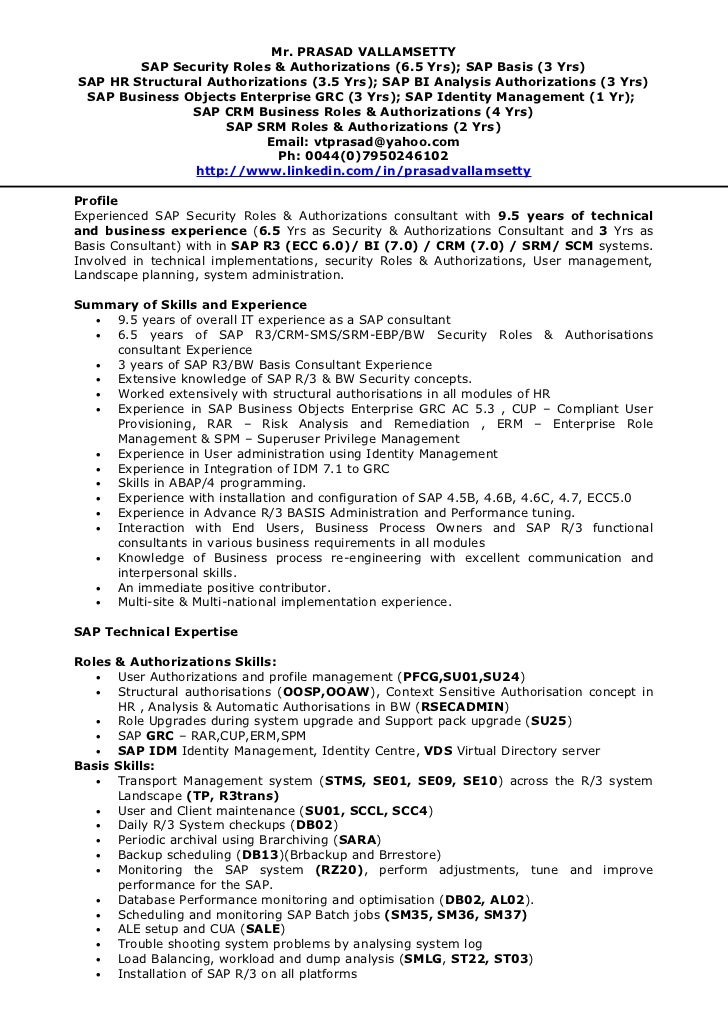 sap consultant resume - Sample Sap Resume
