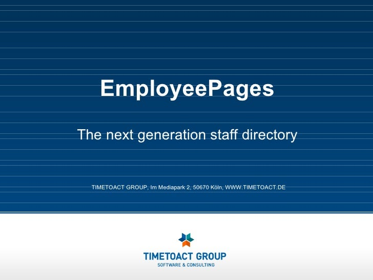 EmployeePages The next generation staff directory