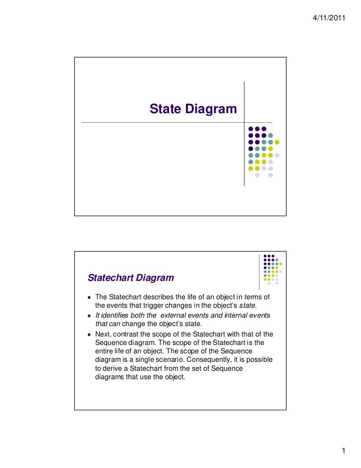 4/11/2011                      State DiagramStatechart Diagram   The Statechart describes the life of an object in terms ...