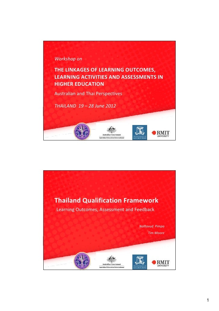 WorkshoponTHELINKAGESOFLEARNINGOUTCOMES,LEARNINGACTIVITIESANDASSESSMENTSINHIGHEREDUCATIONAustralianandThaiP...