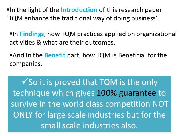Tqm research papers