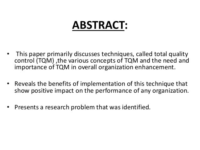 Research papers on tqm