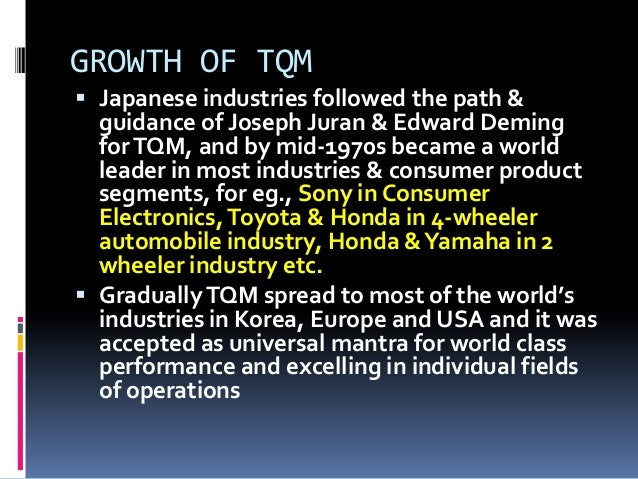 tqm history History the term total productive maintenance is attributed to nippondenso, a company that created parts for toyota however, seiichi nakajima is regarded as the.